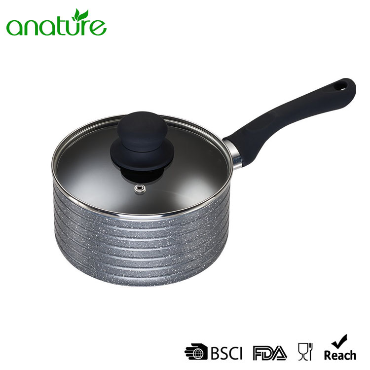 Marble Coating Cookware Set With Glass Lid