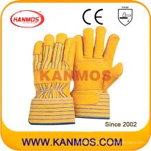 Cuero de vacuno amarillo Grano de cuero guante de trabajo de seguridad industrial (12007)
