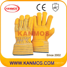 Yellow Cowhide Grain Leather Industrial Safety Work Glove (12007)
