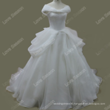RP0109 Pure white real bridal dress organza ruched top wedding dressesball gown wedding dresses pictures 100% real wedding dress