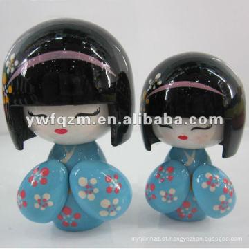 nova moda presente madeira handmade japão boneca