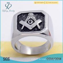 Heißer Verkauf 316l Edelstahlsilber glatte Emaille schwarze mesonic Ringe für Mannschmucksachen