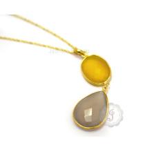 Wholesale Vermeil Bezel Necklaces Jewelry Manufacturer Handmade Best Quality Gemstone Bezel Necklace Supplier