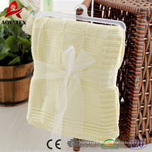 2018 comfortable 100% cotton knitted baby blanket