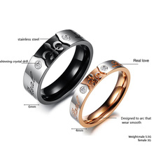 Shiny Punk Titanium Steel Wedding Band Ring Hot Fashion Cubic Zirconia Diamond Couple Ring