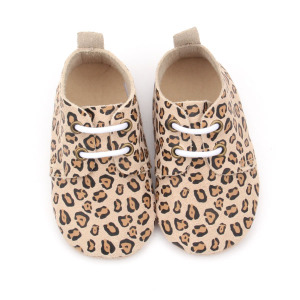 Novo Design Handmade Leopardo Bebê Sapatos Oxford