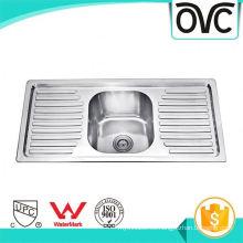 El mejor fregadero de cocina de acero inoxidable bueno grueso plata con bandeja El mejor fregadero de cocina de acero inoxidable bien grueso plata con bandeja