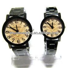 Heiße Edelstahl-Quarz-Liebhaberuhr gebrandmarkte Paar-Uhren