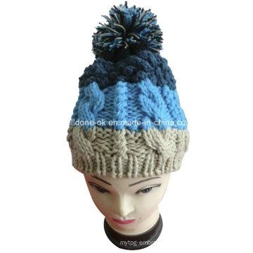 Fashion Quality Cable Hand Knit Women′s Big Pompom Hats