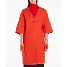 17PKCSC014 mulheres camada dupla 100% cashmere casaco de lã