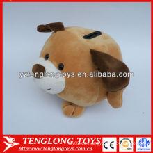 Cartoon animales de color marrón perro peluche ahorro de dinero ollas
