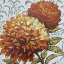 Orange Hues Florals Art Dahlia Oil Painting
