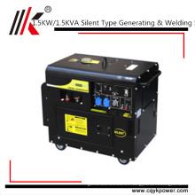 silencioso generador de soldadura diesel portátil / 230v generador diesel silencioso pequeño soldador soldador generador alternador