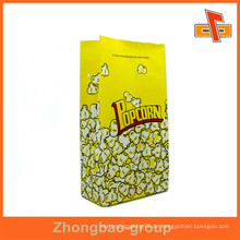 Maßgeschneiderte aseptische weiße Kraftpapier Popcorn Tasche mit buntem Druck für Verpackung