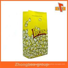 Sac de popcorn en papier kraft blanc aseptique personnalisé avec impression colorée pour l'emballage