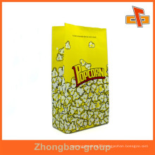 Customized aseptic white kraft paper popcorn bag with colorful printing for packaging