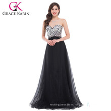 Grace Karin 2016 Moda piso de longitud sexy negro sin tirantes rebordeado largo barato Prom Dresses Rhinestone CL3107-1