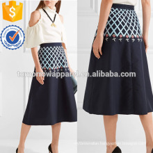 Poppy Field Embroidered Cotton-poplin Midi Skirt Manufacture Wholesale Fashion Women Apparel (TA3034S)