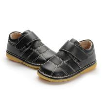 Chaussures intérieures en cuir véritable noir bébé 1-2-3y
