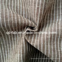 Hilado de algodón / lino teñido de rayas Shirting tela (QF13-0764)