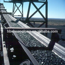 Flame retardant fabric ply conveyor belt for overland coal conveying