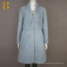 Pale Blue Winter Womens Schaffell Scheren Schaf Pelz Mantel