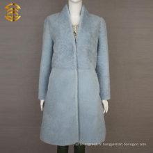 Manteau en peau de mouton de mouton en peau de mouton en peau de mouton bleu pâle