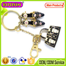 High Quality! Chinese Design Red Crystal Flower Printed Bag Key Chains