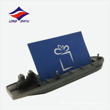 Exhibición de buques de vapor modelo de tarjeta de visita de metal titular