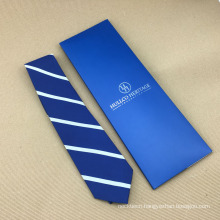100% Silk Woven Skinny Wholesale Mens Ties White with Blue Stripes