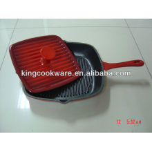 Square Cast Iron Grill Pan with Bacon Press