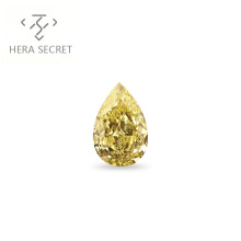 ForeverFlame  fancy yellow 3ct Pear Cut diamond CVD CZ color Moissanite