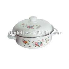 enamel kitchenware with bakelite knob and flower