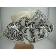 Zebra striple printed sinamay hat