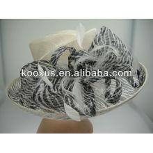Zebra striple printed sinamay hat
