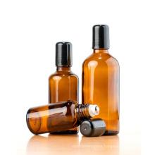 5ml 10ml 15ml 20ml 30ml 50ml 100ml refillable Amber Glass Roll on Bottles Stainless Steel Roller Ball for Perfume Essential Oil