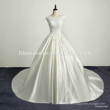 Romantisches Strand Spitze Satin Zug Vintage Hochzeitskleid sexy rückenfreie Applikationen Pailletten Hochzeitskleid Spitze Kleid