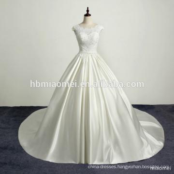 Romantic beach lace satin train vintage wedding dress sexy backless appliques sequins wedding dress lace gown