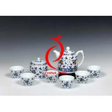 Ensemble de thé bleu et blanc fait à la main avec orchidées traditionnelles