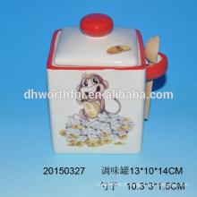 Ensemble de cuisine de singe en céramique pot d'assaisonnement avec cuillère