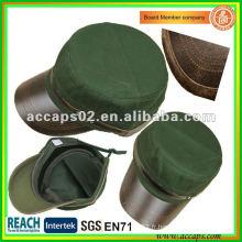 Capuchon de style militaire en cuir bordé MC-1283