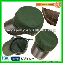 leather brim military style cap MC-1283