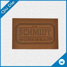 Insignia de cuero personalizada con logotipo en relieve para la etiqueta de ropa de trabajo