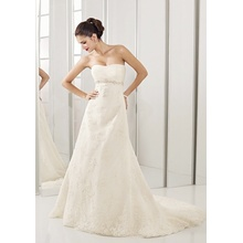 Empire A-line Sweetheart Chapel Train Lace Beading Covered Buttons Wedding Dress
