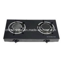2 brûleurs en verre trempé 135 ° brûleur infrarouge cuisinière à gaz / poêle à gaz