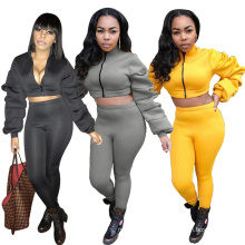C4037  Women's clothing patchwork bodycon two piece clothing set autumn winter crop top  sportswear set