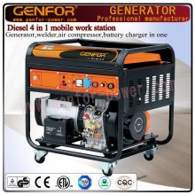 GF11-Dawa Diesel 4 en 1 máquina de trabajo móvil para generador, soldador, cargador de batería y compresor de aire
