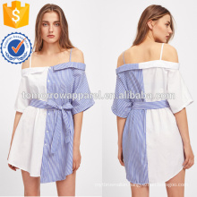 Contrast Striped Self Tie Dress Manufacture Wholesale Fashion Women Apparel (TA3186D)