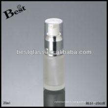 Bouteille de lotion givrée de 20ml, bouteille cosmétique de lotion de corps, bouteille argentée de lotion de pompe