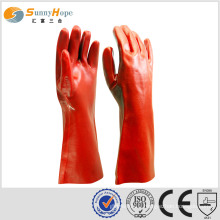 Red PVC coated Gauntlet safety glove